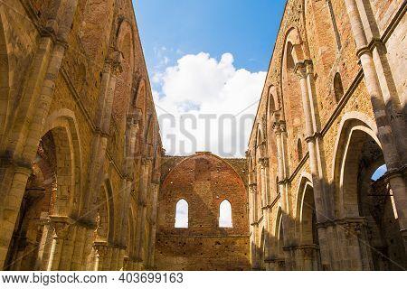 Chiusdino, Italy - 7th September 2020. The Roofless San Galgano Abbey In Siena Province, Tuscany. Ar