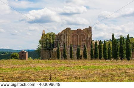 Chiusdino, Italy - 7th September 2020. The Landscape Surrounding The Roofless San Galgano Abbey In S