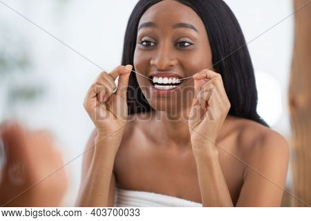 Dental Care, Tooth Decay And Perfect Smile. Millennial African American Woman In White Towel After S