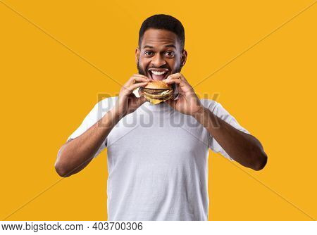 Joyful Hungry African Guy Eating Burger Smiling To Camera Posing Standing On Yellow Background. Stud