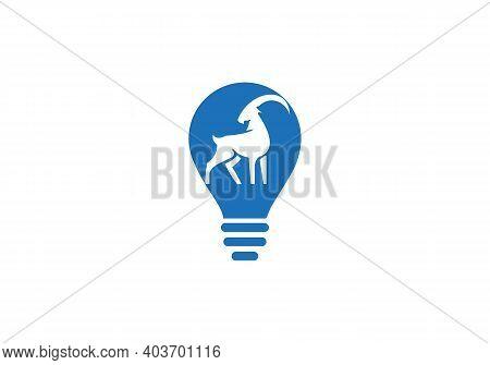 Goat Head Bulb Shape Concept Vector Logo. Goat Sign. Goat Icon. Goat Logo With Bulb Concept