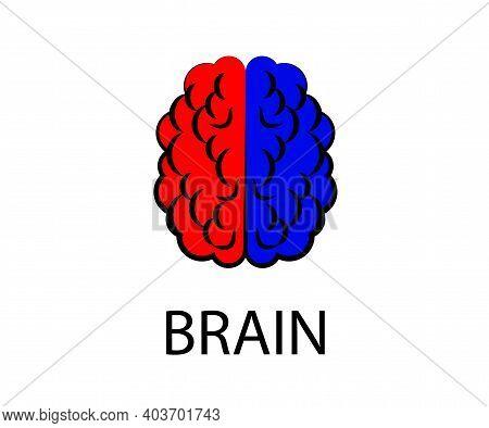 Hemispheres Of The Human Brain On A White Background. Symbol. Vector Illustration.