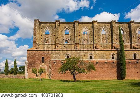 Chiusdino, Italy - 7th September 2020. A Side View Of The Roofless San Galgano Abbey In Siena Provin