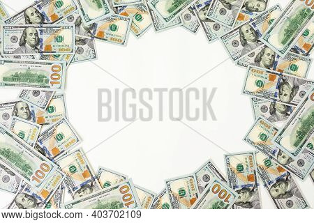 Texture Us Dollars. Frame Background Of One Hundred Dollar Bills.