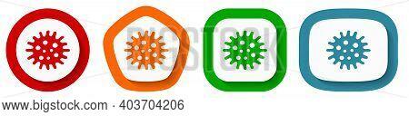 Virus, Coronavirus, Covid-19, Infection Vector Icon Set, Flat Design Buttons On White Background
