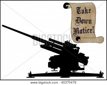 Take Scroll Down Notice With Anti Aircraft Gun