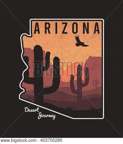 Vintage Arizona T-shirt Design With Cactus, Mountain, Eagle And Arizona State Map. Typography Graphi