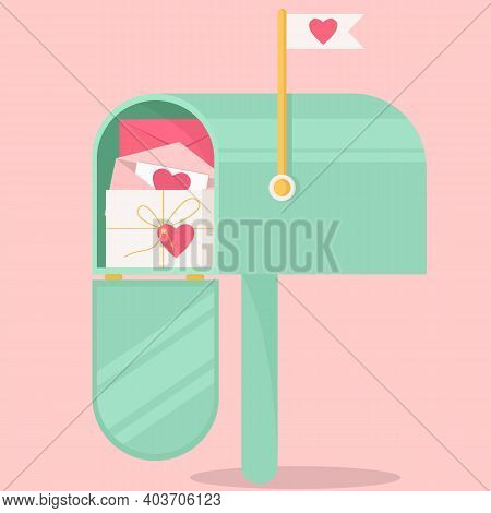 An Open Mailbox With Valentines. Vector Greeting Card, Valentine's Day Greeting Card. Pink Backgroun
