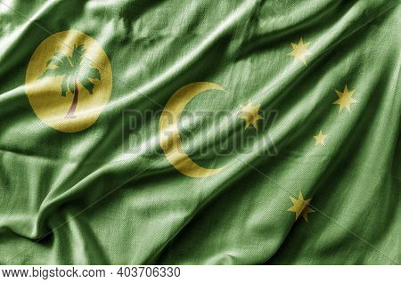 Waving Detailed National Country Flag Of Cocos Keeling Islands