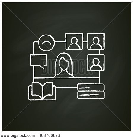 Online Book Club Chalk Icon. Meeting Together Concept. Internet Streaming Website. Social Distanced
