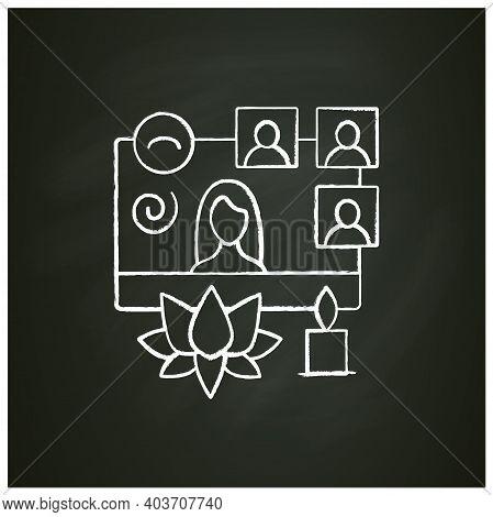 Online Meditation Moves Chalk Icon. Meeting Together Concept. Internet Streaming Website. Live Strea