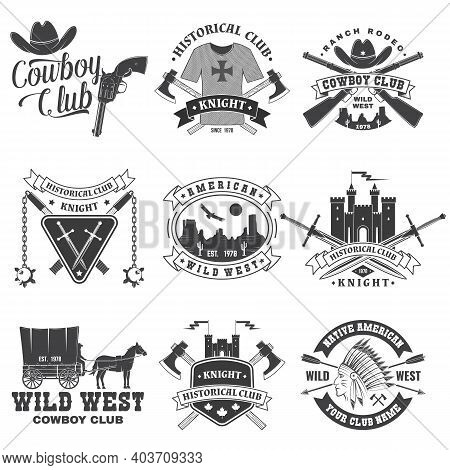 Set Of Knight Historical And Cowboy Club Design. Vector Concept For Shirt, Print, Stamp, Overlay Or