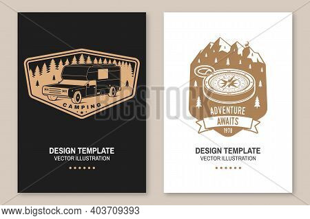 Set Of Rv Camping Badges, Posters, Banners, Flyers. Vector. Concept For Shirt Or Logo, Print, Stamp