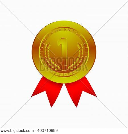 Realistic Honor Badges Gold Medal Design Vector