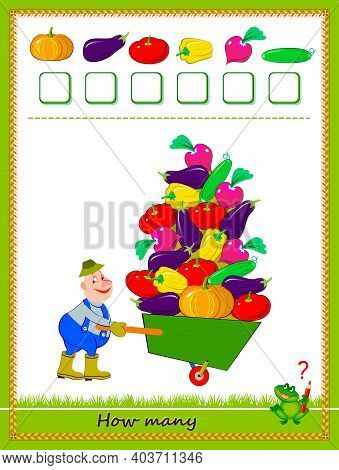 Mathematical Education For Children. Count Quantity Of Vegetables And Write Numbers. Developing Coun