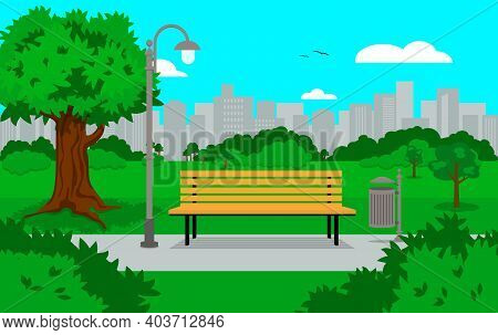A Park Bench With A Lantern And A Trash Can With The City In The Background. Cartouche-style Vector