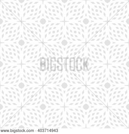 Subtle Geometric Seamless Pattern. Abstract Minimal Ornament Texture. Light Gray And White Geometric