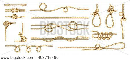 Realistic Knots. Rope Nodes And Round Cord Threads. Isolated Marine Twisted Loop. Collection Of Brai
