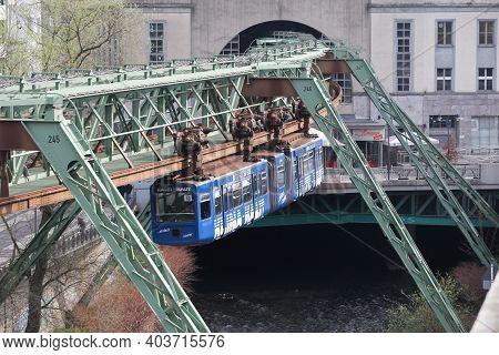 Wuppertal, Germany - March 3, 2014: The Wuppertal Suspension Railway (wuppertaler Schwebebahn) Is A