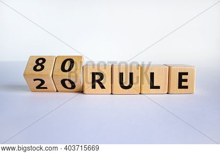 80 On 20 Rule Symbol. Pareto Principle. Turned Wooden Cubes With Words '80 On 20 Rule'. Beautiful Wh