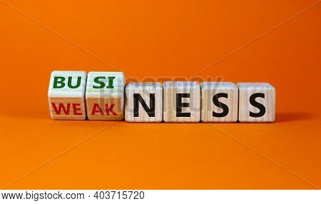 Business Or Weakness Symbol. Turned Wooden Cubes And Changed The Word 'weakness' To 'business'. Beau