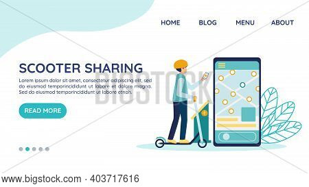 Electric Scooter Rental Website Landing Page, Vector Template Concept. Man In Helmet Unlocks The E-s