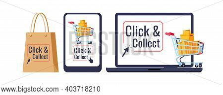 Click And Collect Retail Delivery Set Isolated On White Background. Supermarket Trolley Cart, Parcel