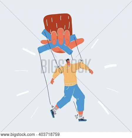 Vector Illustration Of Man Marionette And Puppet Concept. Big Hand Of Boss Hold Character. Metaphor
