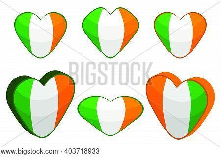 Illustration On Theme Irish Holiday St Patrick Day, Big Set Color Hearts. Pattern St Patrick Day Con