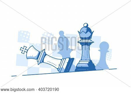 Falling King And Queen Figure On Chess Board Background.
