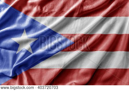 Waving Detailed National Country Flag Of Puerto Rico
