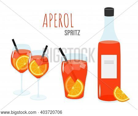 Aperol Spritz Cocktail On A White Background. Two Wineglasses, Glass And A Bottle With Liquor.