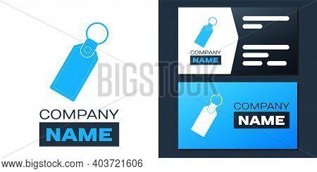 Logotype Rectangular Key Chain With Ring For Key Icon Isolated On White Background. Logo Design Temp