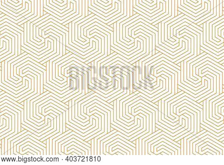 Abstract Geometric Pattern With Stripes, Lines. Seamless Vector Background. White And Gold Ornament.