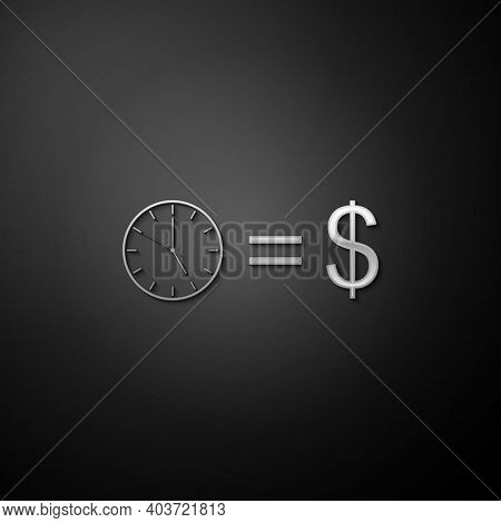 Silver Time Is Money Icon Isolated On Black Background. Money Is Time. Effective Time Management. Co