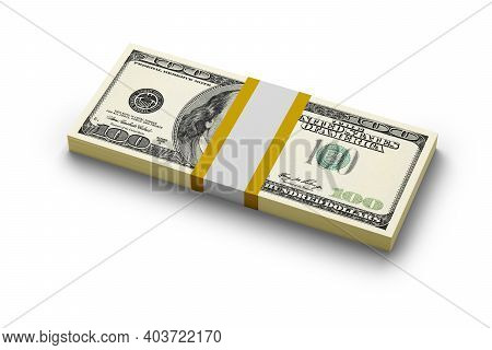 100 Usa Dollar Bills Bundle Stack With Clean Currency Strap Isolated On White Background. 3d Renderi