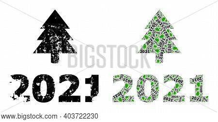 Vector 2021 Fir Tree Fractal Is Created Of Randomized Fractal 2021 Fir Tree Icons. Scratched 2021 Fi