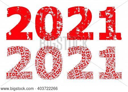 Vector 2021 Year Digits Fractal Is Formed Of Repeating Fractal 2021 Year Digits Elements. Textured 2