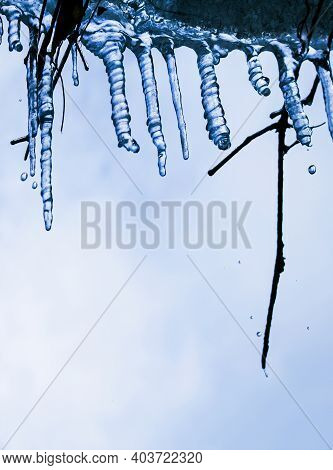Icicles. Winter. Melting Icicles Against The Sky.