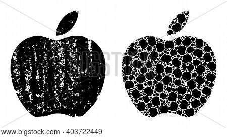 Vector Apple Mosaic Is Created Of Random Itself Apple Pictograms. Distress Apple Icon. Fractal Mosai