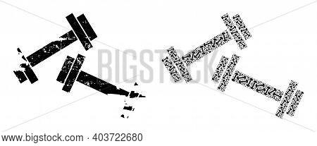 Vector Barbells Composition Is Designed From Random Recursive Barbells Elements. Scratched Barbells