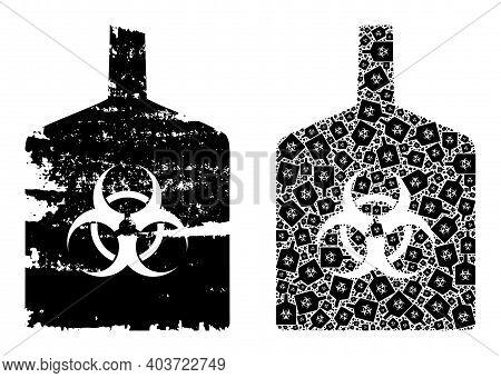 Vector Biohazard Bottle Collage Is Organized Of Randomized Recursive Biohazard Bottle Pictograms. Te