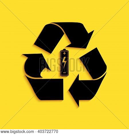 Black Battery With Recycle Symbol Icon Isolated On Yellow Background. Battery With Recycling Symbol