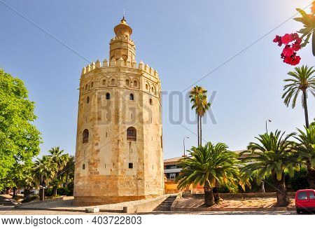 Tower Of Gold (torre Del Oro) On Seville Embanmkent, Spain