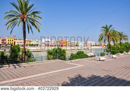 Seville Embankment Of Guadalquivir River In Spain
