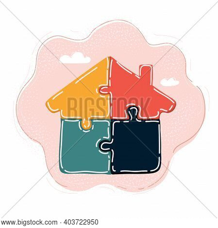 Vector Illustration Of House Built With Puzzle Pieces Vector Illustration