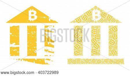 Vector Bitcoin Bank Mosaic Is Formed From Randomized Fractal Bitcoin Bank Elements. Rough Bitcoin Ba