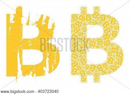 Vector Bitcoin Symbol Collage Is Formed With Random Recursive Bitcoin Symbol Pictograms. Grunge Bitc
