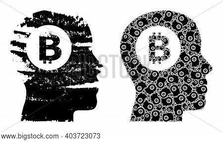 Vector Bitcoin Thinking Collage Is Designed Of Randomized Fractal Bitcoin Thinking Items. Distress B