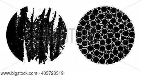Vector Circle Fractal Is Formed From Randomized Recursive Circle Parts. Grunge Circle Icon. Fractal